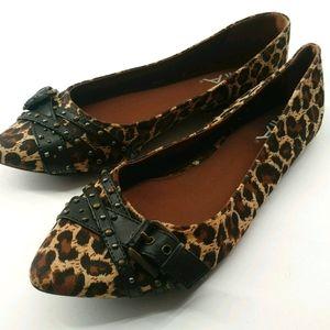 MIA Animal Print Leather Strap Flats Size 8.5